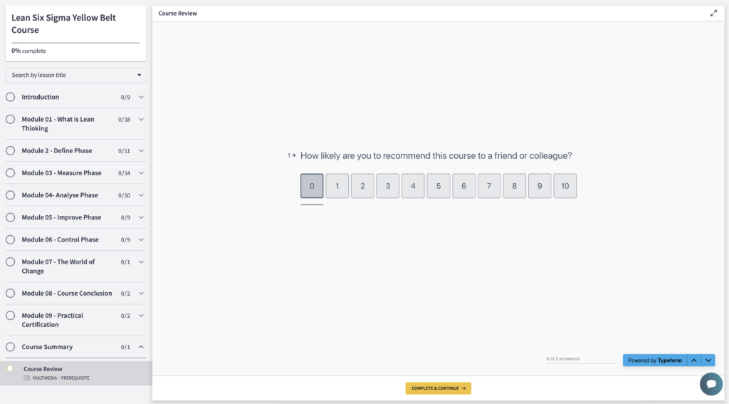 Screenshot of Typeform used in Thinkific Course