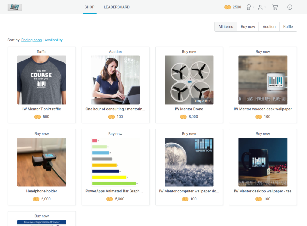 iWMentors store rewards learners for completing learning tasks