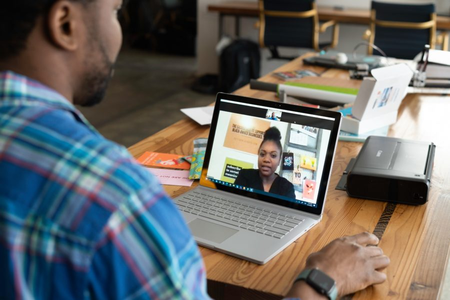 Image: video meeting between two people
